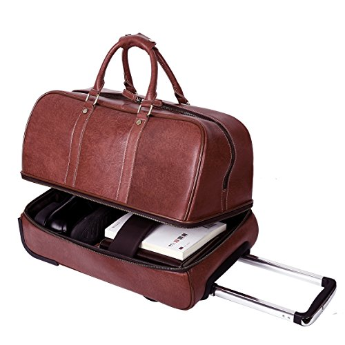 Leathario Leather Luggage travel duffle bag weekend overnight bag (Burgendy) by Leathario