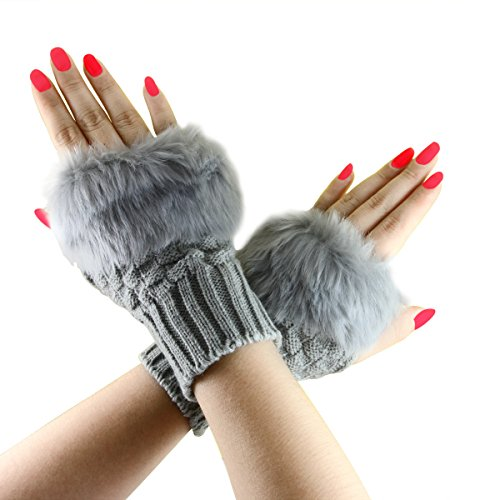 Winter Women's Fingerless Thumb Hole Knited Wool Wrist Arm Warmers Gloves Grey - Arm Warmers With Straps