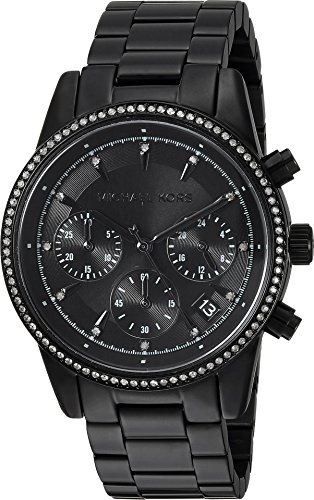 Michael Kors Women's 'Ritz' Quartz Stainless Steel Casual Watch, Color:Black (Model: MK6438)