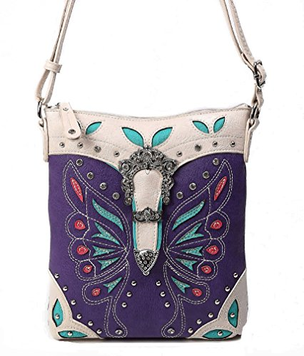 Cowgirl Trendy Butterfly Design South Western Cross Body Messenger Bag with Conceal Carry Pocket, Medium,Purple