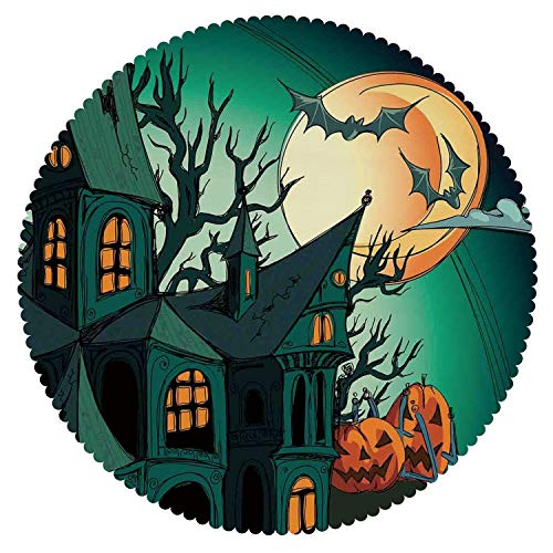 American Round Tablecloth [ Halloween Decorations,Haunted Medieval Cartoon Bats in Twilight Gothic Fiction Spooky Art,Orange Teal ] Fabric Home Tablecloth Ideas ()