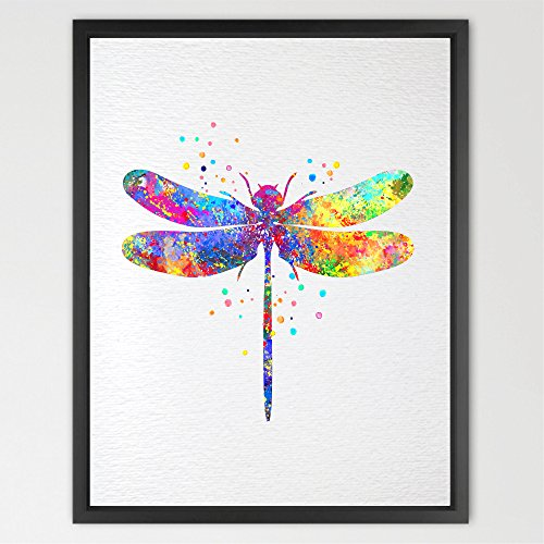 Dignovel Studios 8X10 Dragonfly Watercolor illustration Art Print Wall Art Poster Nursery Art Decor Print Wall Hanging Kids Art Wedding Birthday Gift ()