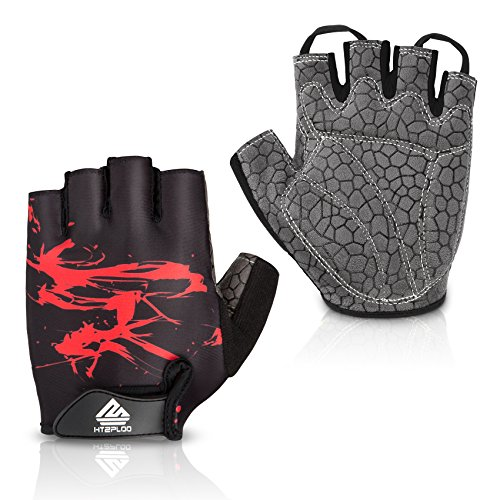 HTZPLOO Bike Gloves Bicycle Gloves Cycling Gloves Mountain Biking Gloves with Anti-Slip Shock-Absorbing Pad Breathable Half Finger Outdoor Sports Gloves for Men&Women (Black&Red, - Handlebar Mens