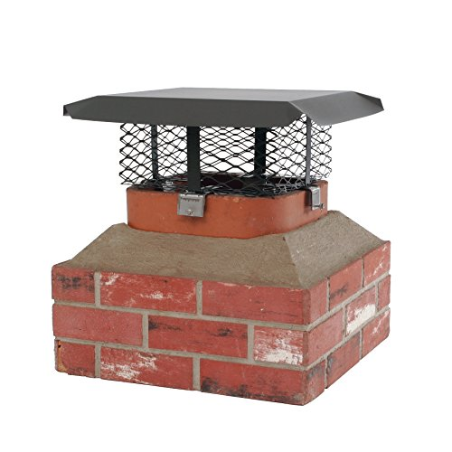 HY-C SCADJ-L Shelter Adjustable Clamp On Single Chimney Cover, Fits Outside Various Sizes of Existing Clay Flue Tile, Large, Black Galvanized Steel ()