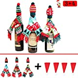 Monadicase Christmas Wine Bottle Cover Gift Wrapping Knitted Sweater Scarves and Hat for Home Party Kitchen Table Decoration 3 Designs - with 4 pcs Santa Claus Hat Cutlery Bags Set Cute Tableware Hold