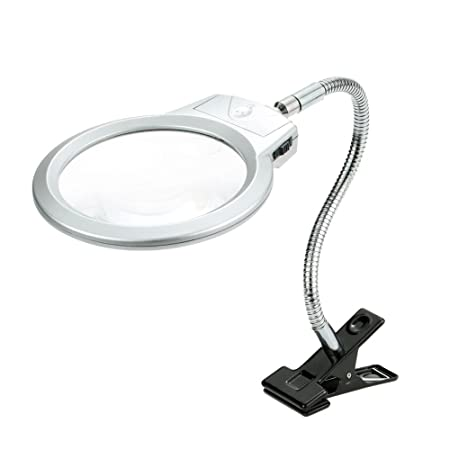 Image result for KKmoon 2.5X 107MM 5X 24MM LED Illuminating Magnifier Metal Hose Magnifying Glass Desk Table Reading Lamp Light with Clamp
