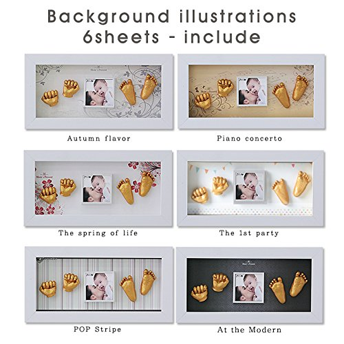 MomsPresent Baby Hands and Feet Casting Print Deluxe KIT with White Frame (Gold) ()