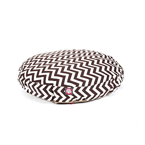 Large Brown Chevron Stripes Pattern Dog Bed, Elegant Zig Zag Stripe-Inspired Print Pet Bedding, Round Shape, Features Water, Stain Resists, Removable Cover, Soft & Comfy Design, Plush Polyester by CU