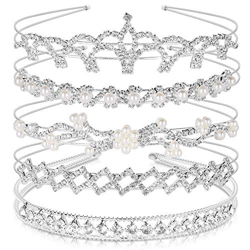 (Crystal Headband Set of 5, Teenitor Jewelry Rhinestone Women Girl Hair Style Accessories Wedding Party Tiara Headdress-)