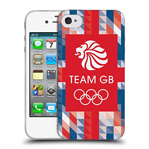Official Team GB British Olympic Association Union Jack Logo Soft Gel Case for Apple iPhone 4 / 4S