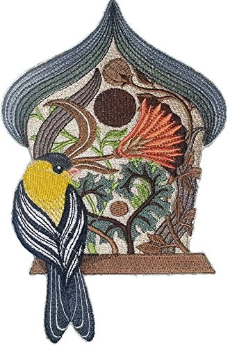 Goldfinch Birdhouse (Custom and Unique,Amazing Birdhouse[ Art And Craft Birdhouse With Goldfinch] Embroidered Iron on/Sew patch [7.5