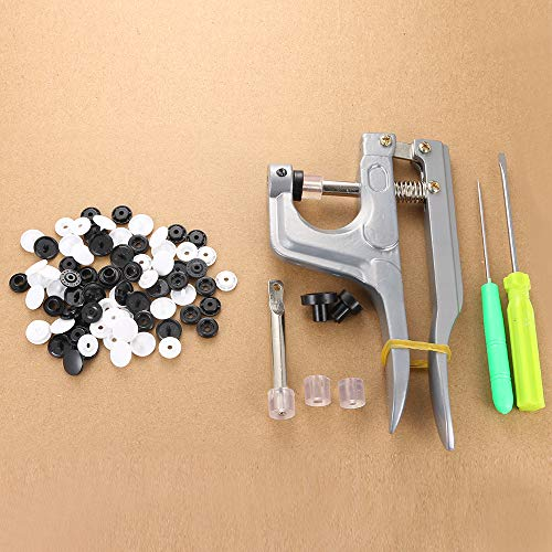 Plastic Snaps Button Snaps Size 20 T5 Black & White Snap Fastener Kit Snap Buttons for Cloth Diaper/Buttons/Bibs/Nappies/Mama Pads/Unpaper ()
