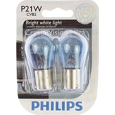 PHILIPS 12498CVB2 P21W CrystalVision Ultra Miniature Bulb, 2 Pack: Automotive