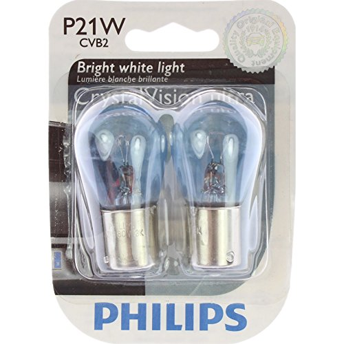 Philips 12498CVB2  P21W CrystalVision ultra Miniature Bulb, 2 Pack by Philips