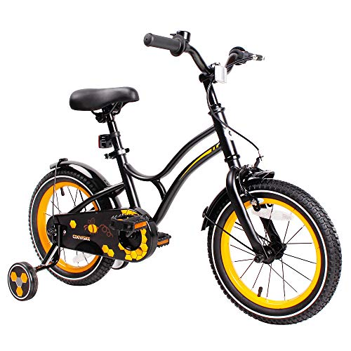 - COEWSKE Kid's Bike Steel Frame Children Bicycle 14-16 Inch with Training Wheel (New Black, 14 Inch)