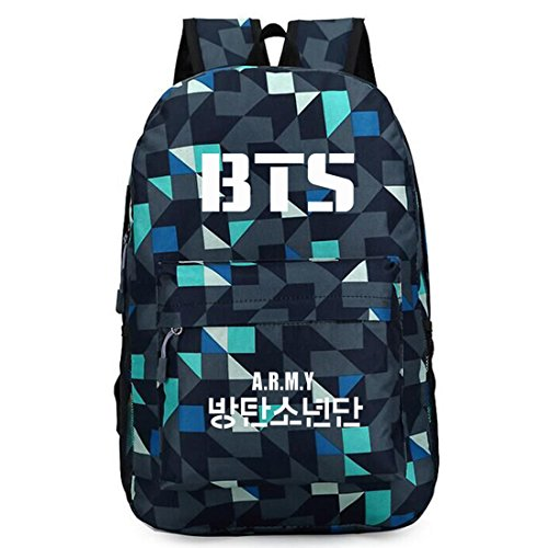 Casual Bts Bag Blue Kpop Partiss Check Printed Unisex twx7WOgF