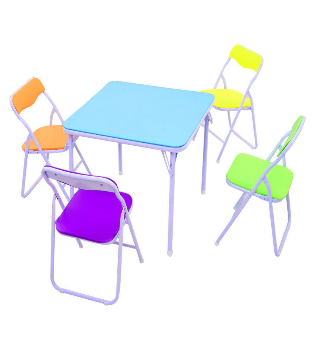 STS SUPPLIES LTD Kids Dinette Set Folding Table Chair for Art Study Dinner Wooden Games Decor Small Kitchen Play Room Classic Desk & Ebook by AllTim3Shopping.