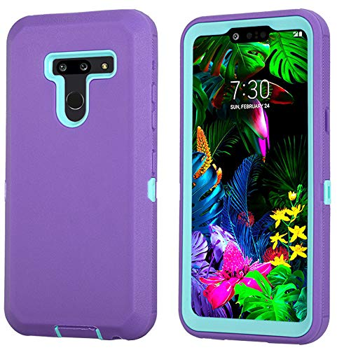 LG G8 ThinQ Case, LG G8 Case, Hybrid High Impact Resistant [with Built-in Screen Protector] Rugged Full-Body Shockproof Tri-Layer Heavy Duty Case for LG G8/ G8 ThinQ (Purple/Mint)