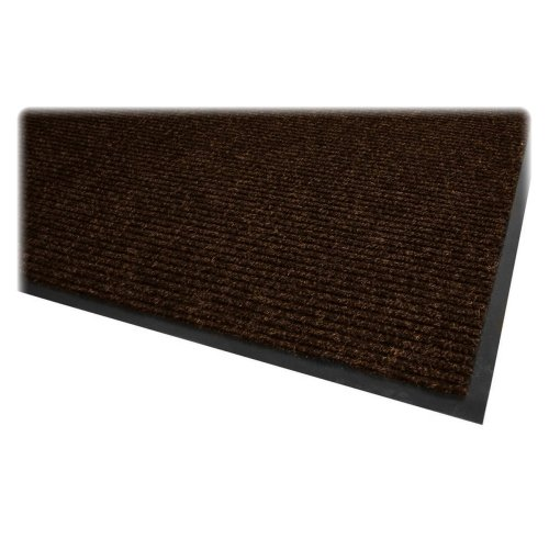 Wholesale CASE of 5 - Genuine Joe Dual Rib Chocolate Carpet Floor Mat-Dual Rib Carpet Surface, Vinyl Backing, 3
