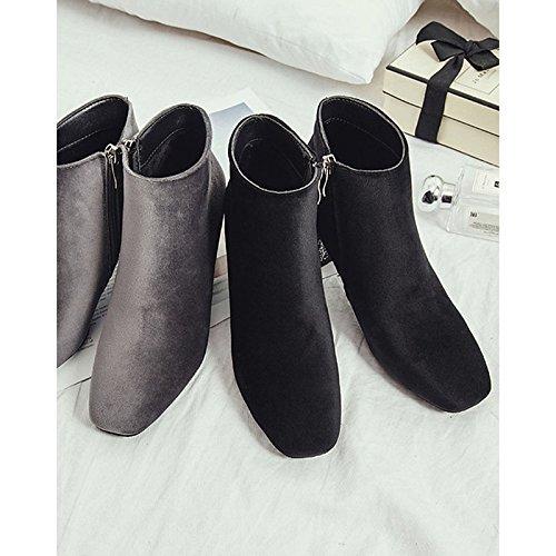 tacco Calf Comfort inverno alto Nero HSXZ Outdoor punta Black tonda donna stivali scarponi pu Mid Scarpe Grigio per PwYqg