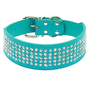 "Berry Pet Rhinestones Dog Collars - 5 Rows Full Sparkly Crystal Diamonds Studded PU Leather - 2 Inch Wide -Beautiful Bling Pet Appearance for Medium & Large Dogs,17-20"" Turquoise"