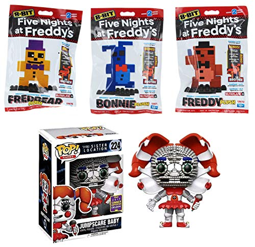 Funko Build 8-bit Five Nights at Freddy's Character Pack Vinyl Pop Sister Location #224 SDCC Jumpscare Baby Exclusive & Fredbear / Bonnie / Freddy Plush buildable Figure
