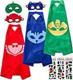 Catboy Owlette Gekko Costumes and Dress up for Kids, 3 Capes and 3 Masks - Superhero Party Supplies Blue