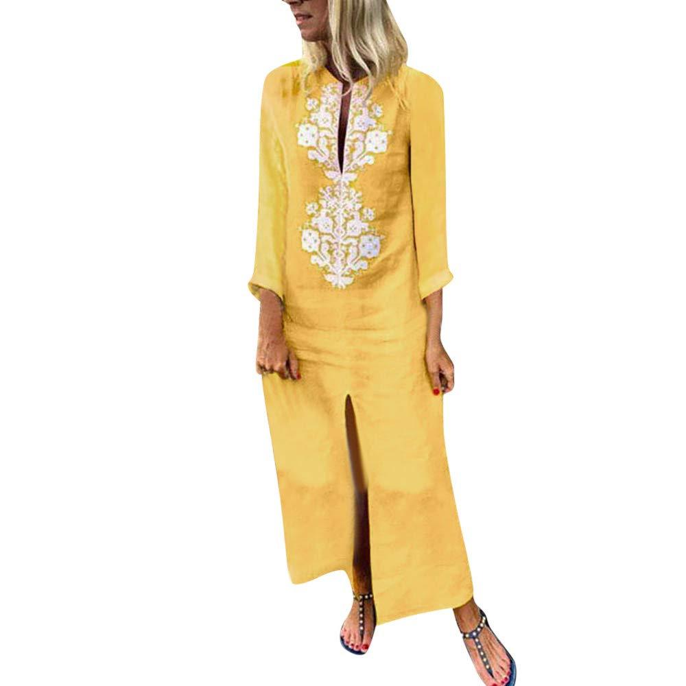 iHPH7 Womens Paisley Long Sleeve Slit Maxi Dress Baggy Cotton Linen Kaftan Dress