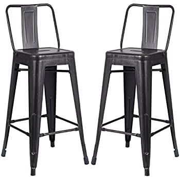 AC Pacific Modern Light Weight Industrial Metal Bucket Back Barstool 30  Seat Height Counter  sc 1 st  Amazon.com & Amazon.com: DHP Luxor Metal Counter Stool with Wood Seat and ... islam-shia.org