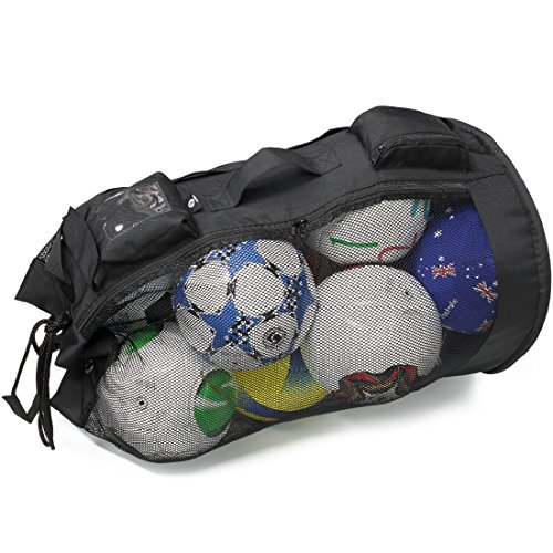 PP PICADOR Mesh Equipment Bag for Soccer Ball Drawstring and Zipper, Sports Mesh Ball Bag Oversize Duffle Reinforced Bottom Folding Portable by PP PICADOR