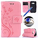Samsung Galaxy J1 Mini Prime Leather Case,Samsung Galaxy J1 Mini Prime Wallet Case, Etsue Cute Butterfly Flower Embossing Pattern Retro Bookstyle Flip Case Cover with Strap Leather Wallet Case for Samsung Galaxy J1 Mini Prime+Blue Stylus Pen+Bling Glitter Diamond Dust Plug(Colors Random)-Butterfly,Pink