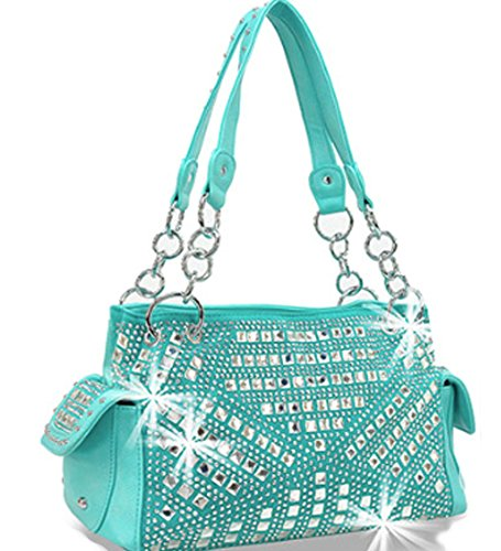 Zzfab Gem Studded Rhinestone Concealed and Carry Purse Turqoise