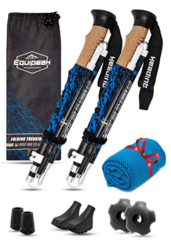 Equipeak Collapsible Folding Hiking & Trekking Sticks - 2 Aluminum Walking Poles with Real Cork & EVA Handle Grip Set - Ultra Strong Locking - for Men & Women (Blue, S (5'0