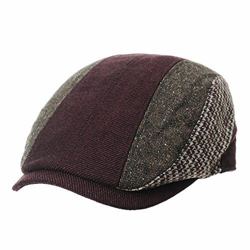 WITHMOONS Flat Cap Knitted Vertical Stripes Houndtooth IVY Hat LD3809 (Wine)