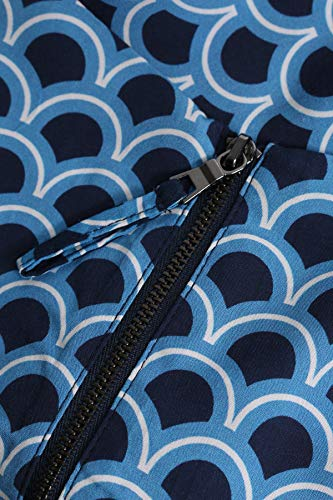 Kleid Blau bloom Wellen Viskose mit Print FWqH5R