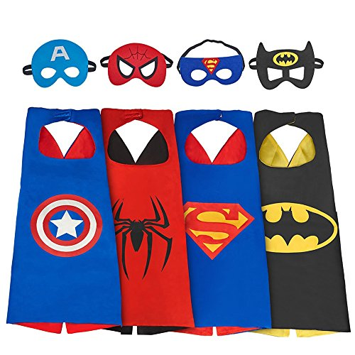 My-My Toys for 3-10 Year Old Boys, Superhero Capes for Kids 3-10 Year Old Boy Gifts Boys Cartoon Dress up Costumes Party Supplies 4 Pack MMUSPF04