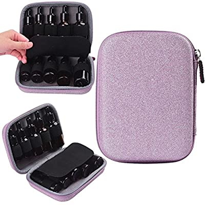 12 Essential Oils Carrying Case for 5ml and 10ml Roller Bottles- shining pink