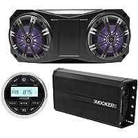 Kicker Bluetooth Receiver+2 6.5 LED Overhead Speakers+Amplifier 4 ATV/UTV/Cart