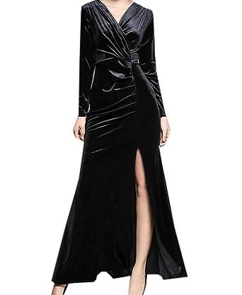 9a3fe09fcafe8 M&S&W Women Long Sleeve Sexy Club Warp Front Velvet Vintage Retro ...