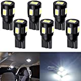 AMAZENAR 12V,146LM,White 6000K Interior and Exterior T10 6-SMD 5630 Chips - LED Lights Replacement For W5W 194 168 2825 Map - Dome - Courtesy - License Plate - Dashboard Side Marker Light (6-Pack)
