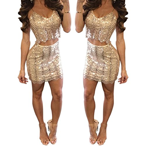 BIBOSS Sexy Two Piece Cocktail Party Dress for Women and Girls Sequins Bodycon Beach Club Fitted Dresses Sets (L, (Sexy Western Dress)