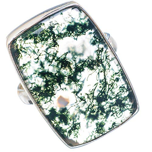 Large Green Moss Agate Ring Size 10 (925 Sterling Silver) - Handmade Boho Vintage Jewelry RING909721