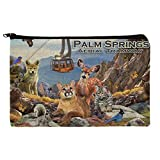 Palm Springs Aerial Tramway California CA Animals Cougar Deer Bobcat Pencil Pen Organizer Zipper Pouch Case
