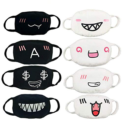 CSPRING 8 Pack Cute Funny Black and White Reusable Cotton Face Cover Mouth Mask for Men Women Teens -
