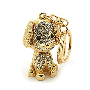 Teri's Boutique Dog Puppy Lover Great Gift Rhinestone 3D Women Kids Charm Keychain (Gold)