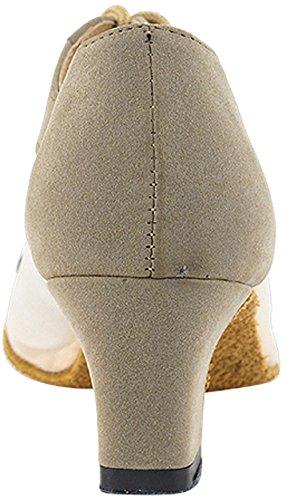 Scarpe Donna Pratica Scarpe Da Ballo Dance Party Salsa 1643eb Confortevole Bene -molto 2 {fascio Di 5} Marrone Nubuck & Maglia Carne