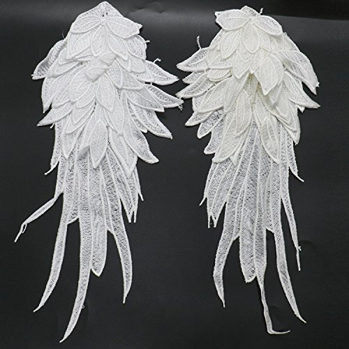 RTNOW 1Pair Large Size White Embroidered Angel Wings 15.8X6.2 inch (Large White Angel Wings)