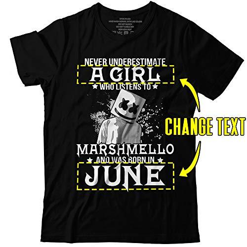 Marshmello-DJ Never Underestimate A Girl Who Listens To Customized Handmade T-Shirt Hoodie/Long Sleeve/Tank Top/Sweatshirt (Red Christophers Clover)