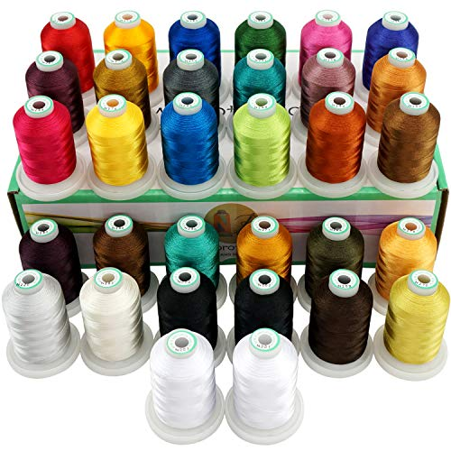Great Deal! New brothread 32 Spools Polyester Embroidery Machine Thread Kit 1000M (1100Y) Each Spool...