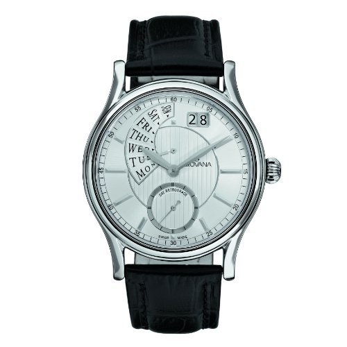 Grovana Men's 1718-1532 Retrograde Analog Display Swiss Quartz Black Watch